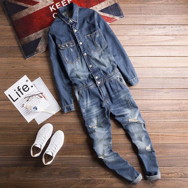 2019 Spring and Autumn Korean Fashion Denim Jacket Set Men's Casual Bibs Super Handsome Mens Denim Jumpsuit Good Quality