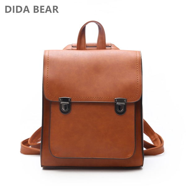 DIDA BEAR Women Backpack Women's PU Leather Backpacks School Bag for Teenagers Girls New Fashion backpack Travel shoulder Bags