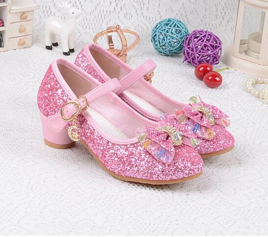 Children Princess Pearl Beading Sandals Kids Flower Wedding Shoes High Heels Dress Shoes Party Shoes For Girls