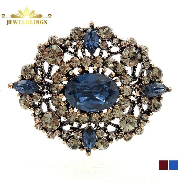 Victorian Vintage Filigree and Blue Oval Brooches Gold Tone Geometric Foliate Opens Crystal Pave Art Deco Pins Antique Jewelry