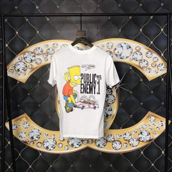 19ss Moda Mens Designer Mulheres Camiseta Casual T de Luxo Americano de Alta Qualidade Do Carro Simpson Skate T-shirt de Grandes Dimensões
