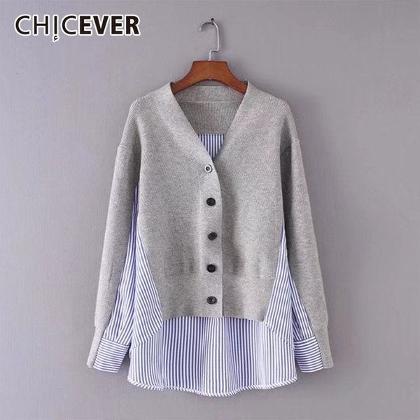CHICEVER Autumn Female Sweater For Women Top Long Sleeve Hem Asymmetrical Loose Big Size Cardigans Sweaters Jumper Clothes New SH190930