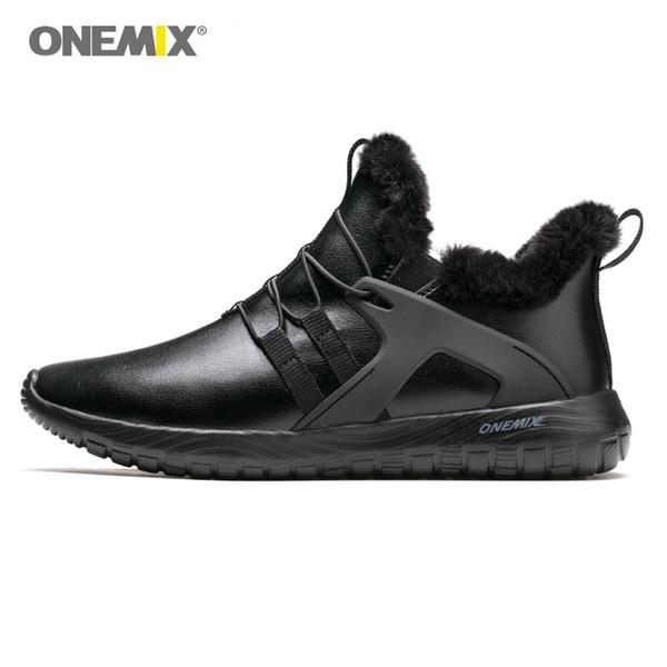 Homens Botas de Inverno Com Peles 2019 Bota de Neve Quente Homens Calçados Em Clássico Preto Sapatos esportivos Tênis de Corrida Ao Ar Livre Plus Size # 174829