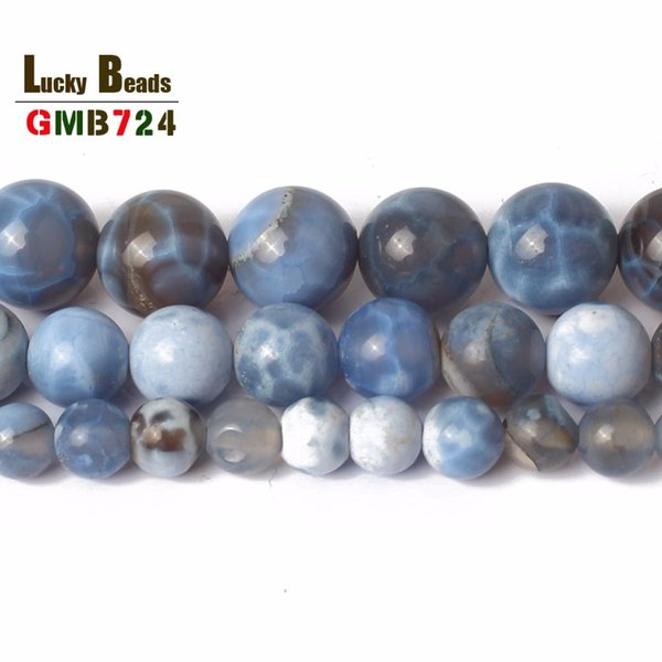 "6 6,8,10mm Round Bead Blue Craceked Fire Agates Stone Beads For DIY Necklace Bracelets Jewelry Making 15"" Free Shipping"