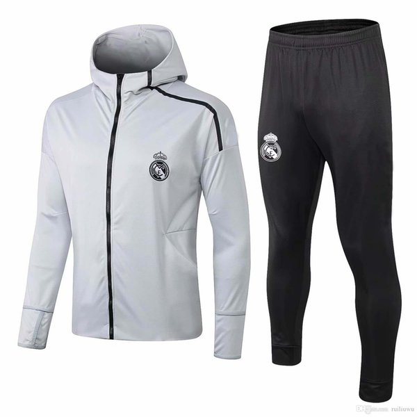 AAAA+2018 2019 Real Madrid Hoodies Jacket Kits Training Suit MODRIC BALE Chandal Tracksuits Maillot de foot Survetement Hooded Uniforms Sets