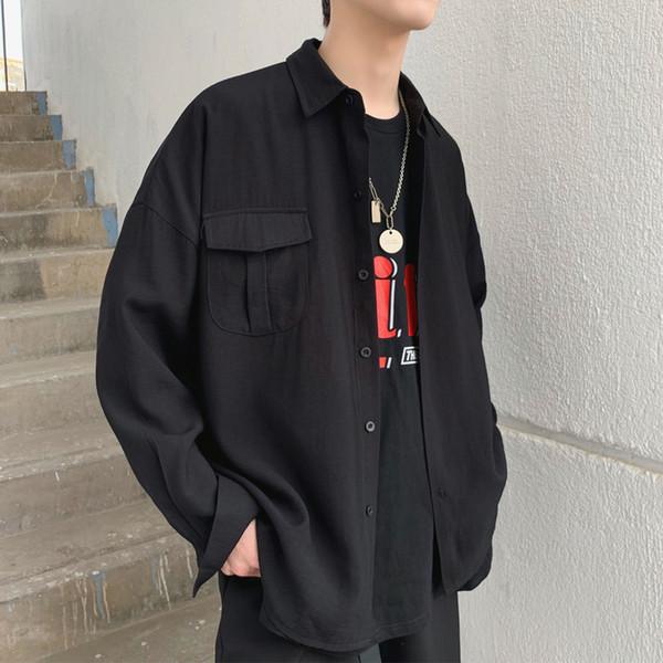 2019 Spring Summer Korean Pocket Designed Thin Oversize Men's Black White Casual Shirt Blouse SH190819