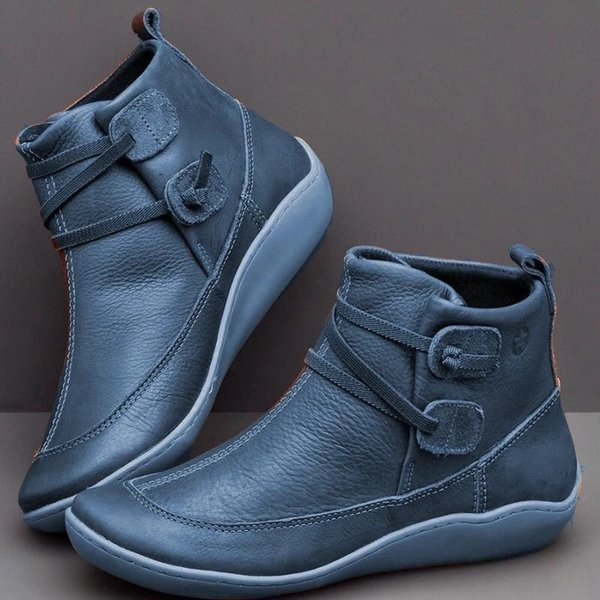 Ankle Boots Women PU Leather Winter Cross Strap Vintage Plush Punk Warm Short Boots Flat Ladies Shoes Woman Botas Mujer Size 35-43