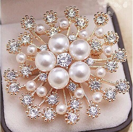 2019 Fashion Women Large Brooches Lady Snowflake Imitation Pearls Rhinestones Crystal Wedding Brooch Pin Jewelry Accessorise
