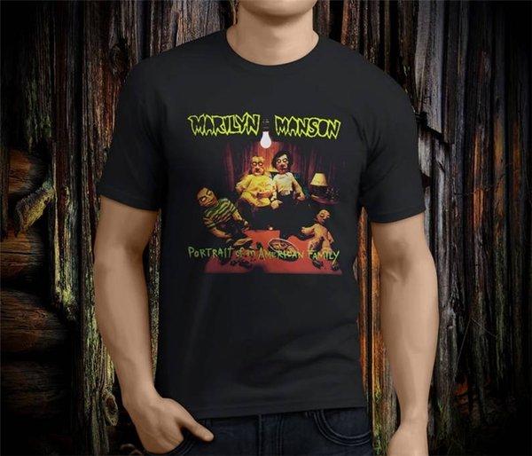 Lustiges Baumwollt-shirt-Geschenk Kurzhülse Marilyn Manson Porträt von amerikanische Hemden für Männer