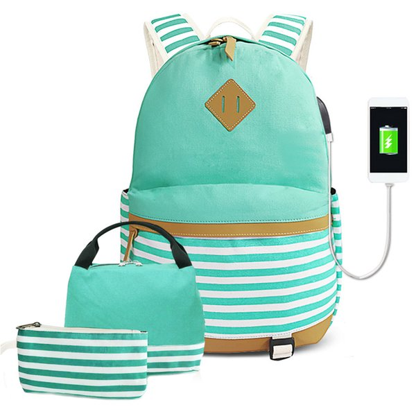 Women Men Striped Casual Large Capacity Backpack Adjustable Strap Canvas Travel Zipper Laptop Pencil Case With USB Port