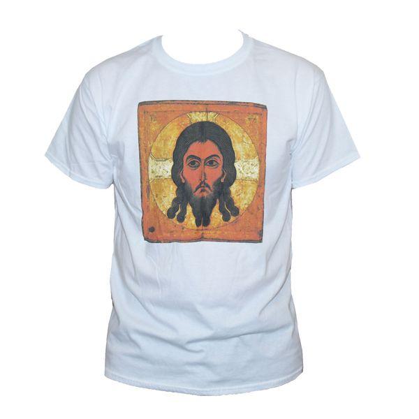 JESUS RUSSIAN ICON T SHIRT Orthodox Christian Church Art Graphic Tee Unisex