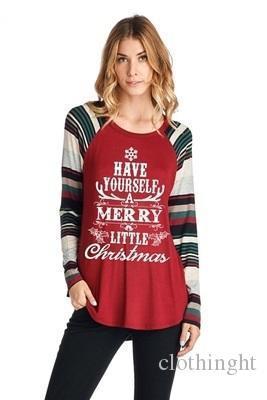 Lifenee1 Womens Geyik ve Noel Mektup Baskılı Raglan Çizgili Uzun Kollu Gömlek Tops