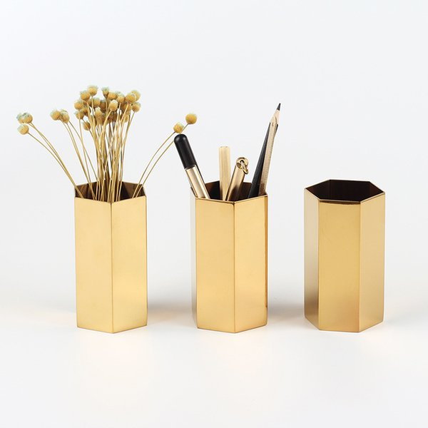 Hexagon Brass Vase Desktop Pen holder Container Living Room Nordic Style storage container desk Ornament Cup Desk Flower Pots FFA1503