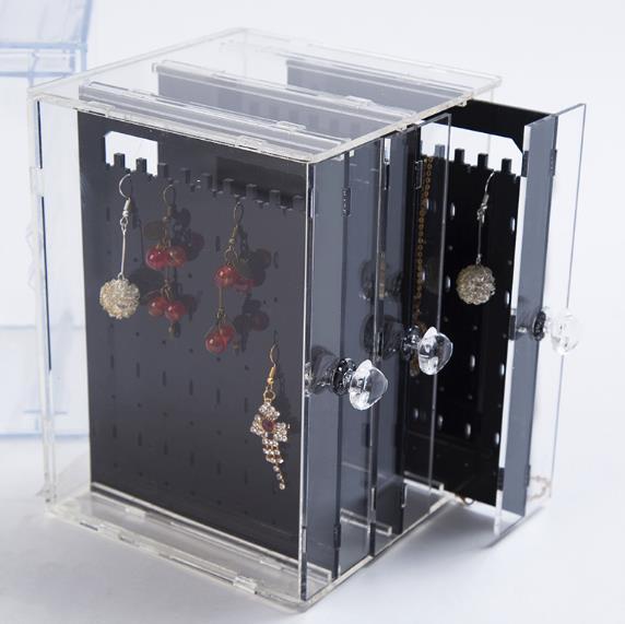 Bijoux boîte en plastique boucle d'oreille goujon transparent recevant boîte boîte en plastique boucle d'oreille finition recevant boîte présentoir de bijoux