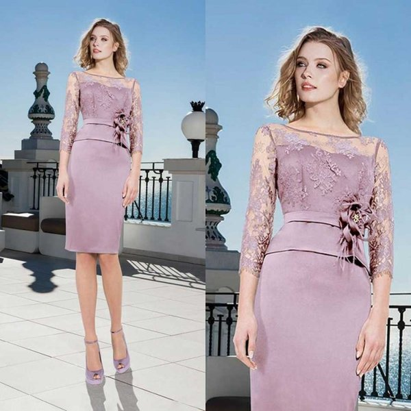 Modest Lavender Mother of Bride Dresses Lace Top Plus Size Mothers 3/4 Long Sleeve Evening Gowns Knee Length Wedding Guest Dress