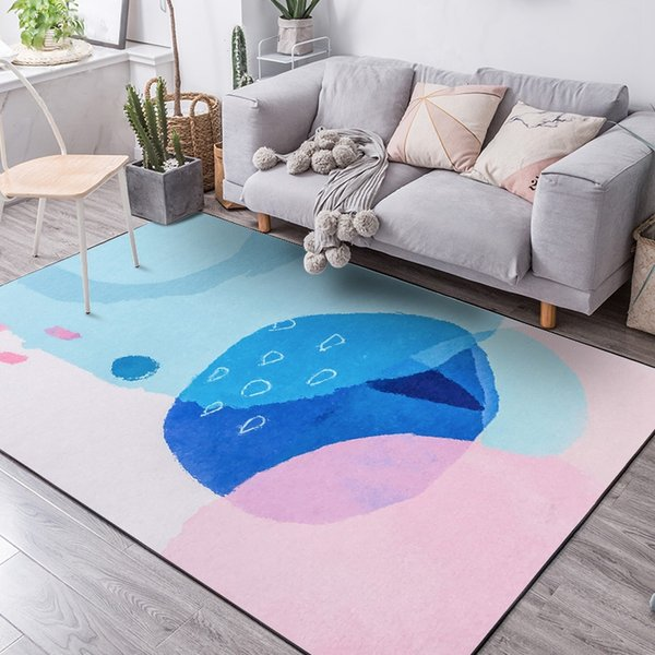 Großhandel Moderne Blau Rosa Aquarell Muster Teppiche Und Teppiche Für  Zuhause Wohnzimmer Schlafzimmer Kinderzimmer Fußmatten Nordic Design ...