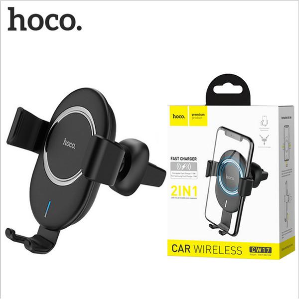 HOCO En el automóvil Cargador rápido inalámbrico Soporte para automóvil Parabrisas Universal Panel de instrumentos para iPhone XS Max X Samsung S9 caja de venta minorista