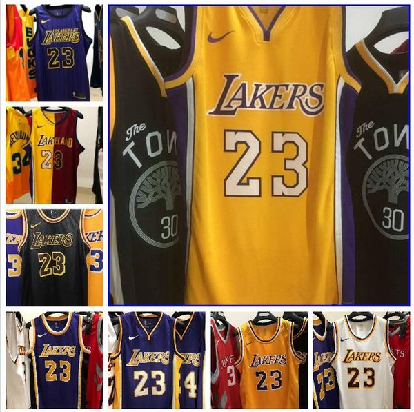 2020 Mens Los AngelesLakers 6 # LeBron James Retro Giallo swingman Jersey di pallacanestro nome e numero di pressatura a caldo dimensione stampata XXS-XXL