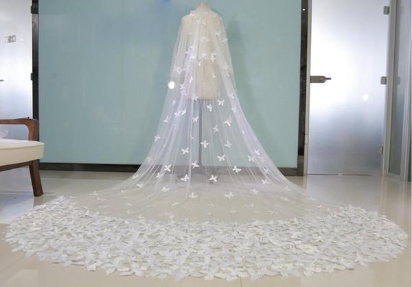 Real Imagem Borboleta Véus de Noiva Branco Sheer Tulle Camadas Duplas Crepe Longo Veil Véus De Noiva Em Estoque Acessórios De Noiva Frete Grátis
