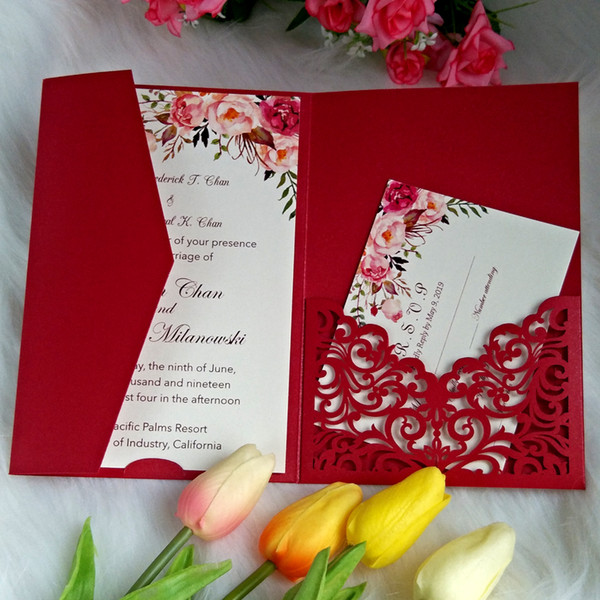 Chinese Red Envelope Style Laser Cut Wedding Invitation With Rsvp Card Customized Printing Invitations For Bridal Shower Quinceanera Party Create