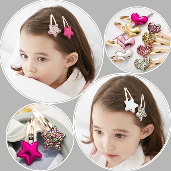 Fashion paillette Star heart crown tiara lovely princess hairpins Handmade Kids Girl Bowknot Hair Clips Barrette Hairpin Hair Accessories