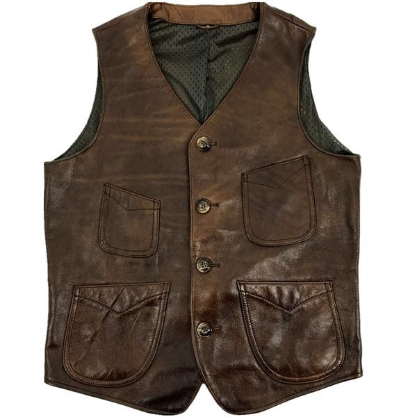 HARLEY DAMSON Vintage Brown Hommes Américain Casual Style Vest En Cuir Plus La Taille 4XL Quatre Poches Véritable Vachette Printemps Court Gilet