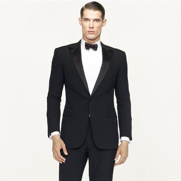 Black Groom Wedding Tuxedos Men Suits for Wedding Man Suits Blazers Jacket 2Piece(Coat+Pants) Satin Peaked Lapel Slim Fit Terno Masculino