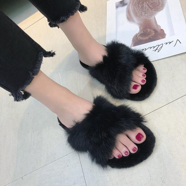 Coolsa Yaz Kadın Kürk Terlik Gerçek Kürk Kadın Slaytlar Ana Kürklü Düz Sandalet Bayan Sevimli Pofuduk Ev Ayakkabı Flip Flops