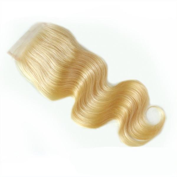 4 * 4 Top Spitze Schließung Körperwelle 10A Grade # 613 Blonde Farbe Verschlüsse Freies Teil Mittelteil Drei Teil Auf Lager