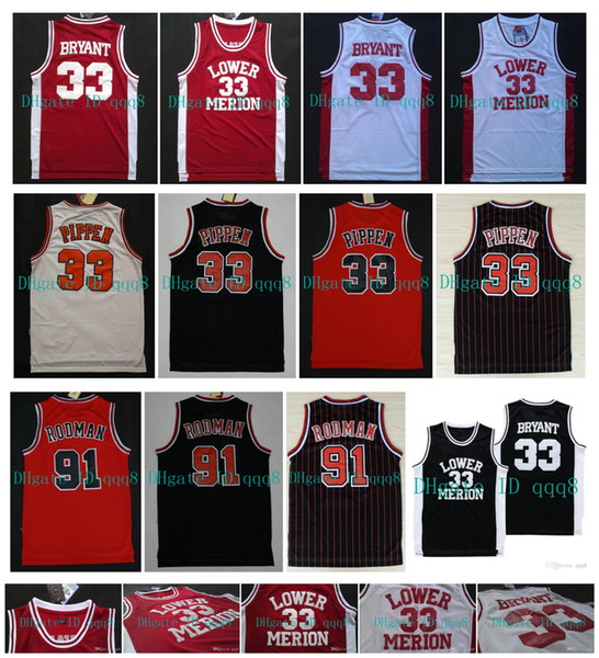 best selling NCAA Lower Merion 33 Bryant Jersey Scottie 33 Pippen Dennis 91 Rodman College High School Jersey Red White Black 100% Stitched Basketball
