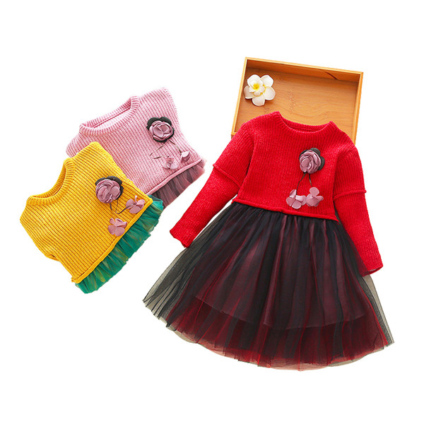 spring thick warm knit tulle dresses age 3 - 10 yrs baby girl long-sleeve princess dress 3d flower party frocks for little girls