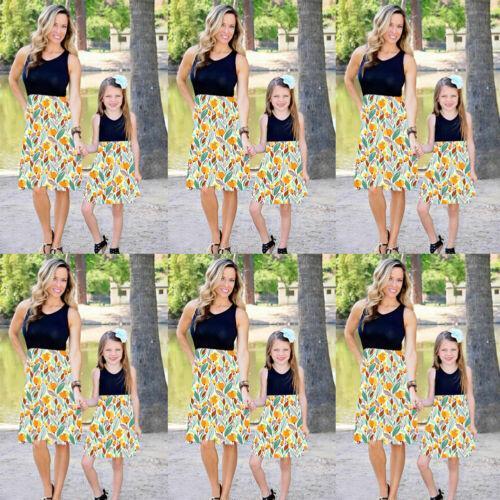 Mère et fille Boho sans manches vêtements robe parent-enfant Tenues Matching Family Set