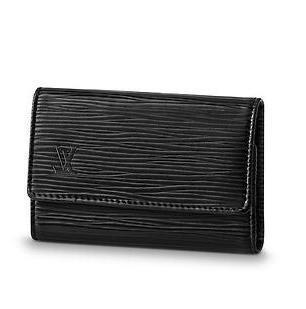 2019 M63812 6 KEY HOLDER Water ripple black Real Caviar Lambskin Chain Flap Bag LONG CHAIN WALLETS KEY CARD HOLDERS PURSE CLUTCHES EVENING