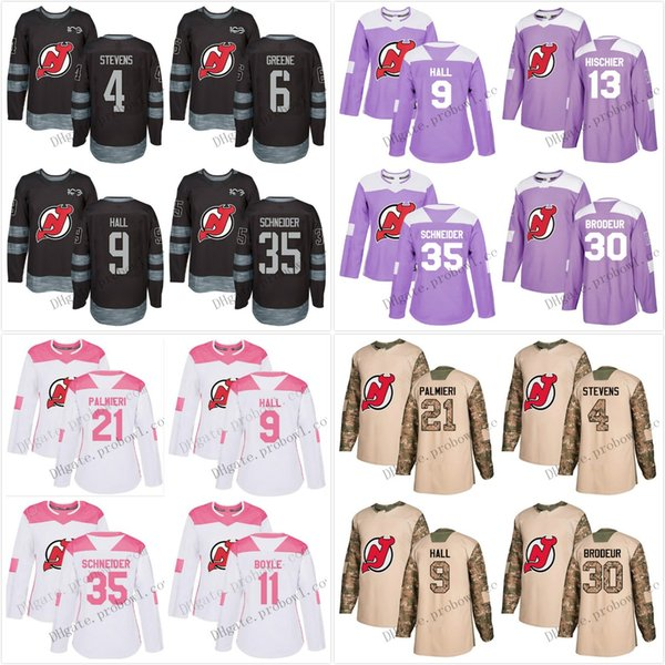 New Jersey Devils Jersey 9 Taylor Hall XS-6XL 13 Nico Hischier 30 Martin Brodeur 35 Cory Schneider Salute Black Hockey Jerseys White Pink