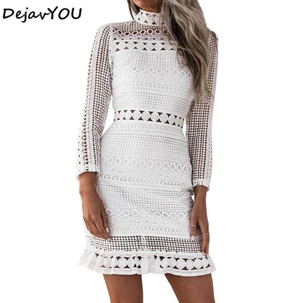 Womens Elegant White Lace Patchwork Cocktail Party Fitted Stretch Long Sleeve Slim Hollow Bodycon Bandage Pencil Sheath Dress