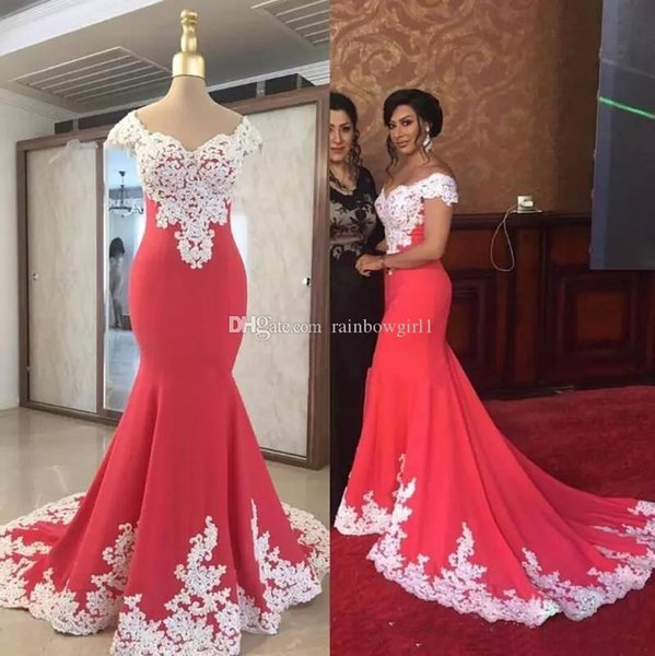 2019 Latest Arrival Long Mermaid Red Evening Dresses Satin Lace Applique Sexy Cap Sleeves Court Train Party Gowns Long prom