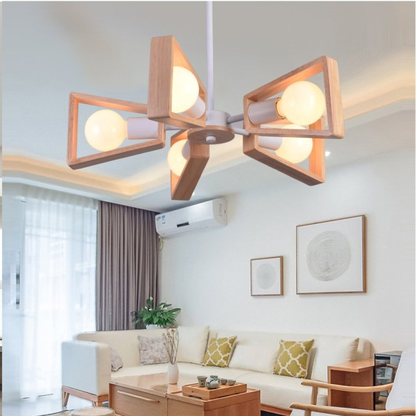 Modern LED Chandelier Creative Simple 3/6/8 Heads Solid Wood Lamp Ceiling chandelier Lighting Home Lighting Bedroom Dining Room