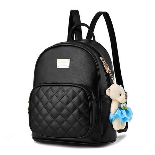 COOL WALKER New Arrival Fashion Women Backpack Bag Small Bear Pendant Girls Schoolbag Leather Women Backpack Double Zipper #307832