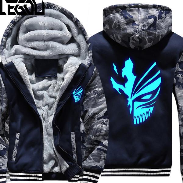 USA SIZE Hoodie Men Anime BLEACH Kurosaki ichigo Hoodies Coat Winter Fleece Thicken Luminous Sweatshirts Jacket