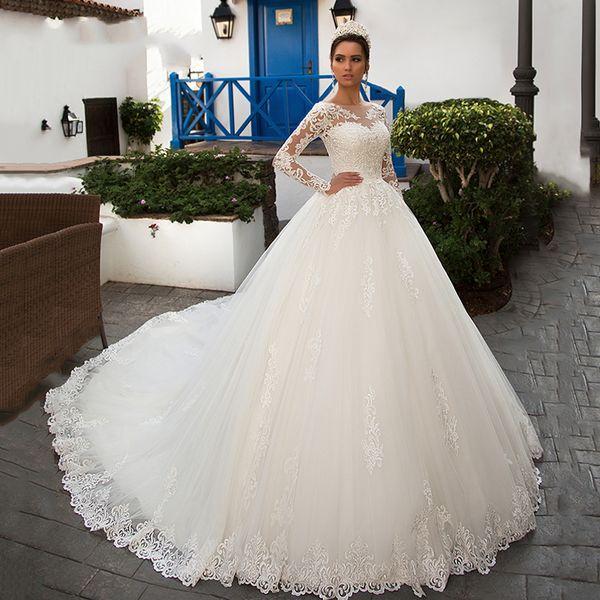 Gorgeous Long Sleeve Tulle Bolero A Line Wedding Dresses 2019 Scoop Luxury Chapel Train Vintage Princess Wedding Gowns Vestidos De Novia
