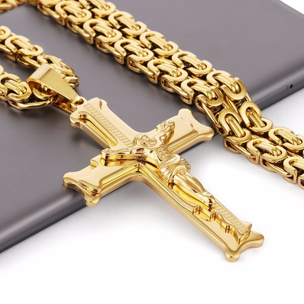 Gold Color Stainless Steel Jesus Cross Pendant Necklace 6mm Link Byzantine Chain Necklace Long Heavy Men Jewelry Collares Mn68 Y19050901