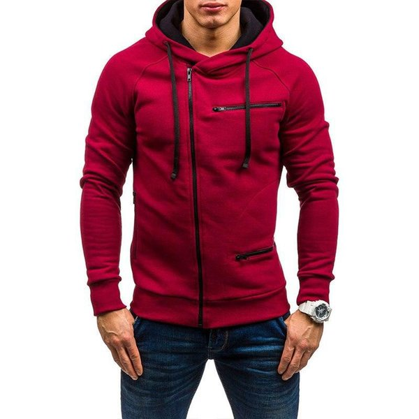 2019 gym European and American style men's plain sports and leisure jacquard sweater, velvet cardigan and cap jacket comfortable trend