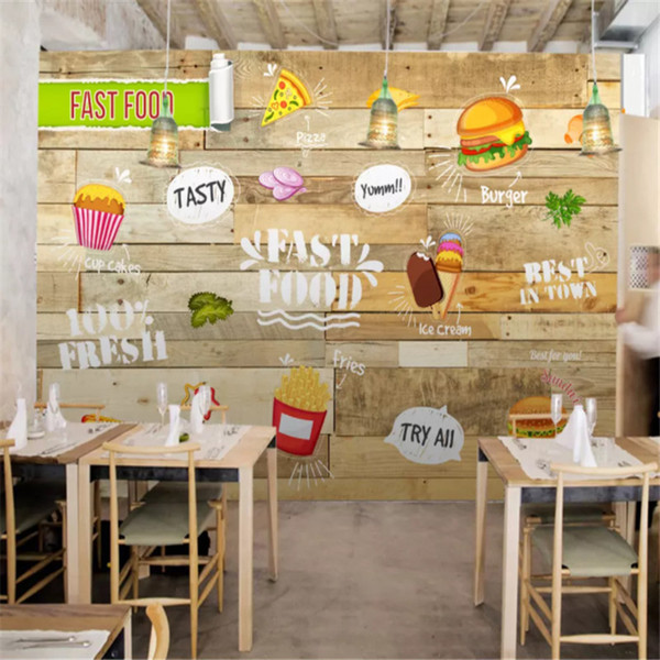 Custom Wall Mural Wallpaper 3d Gourmet Fast Food Restaurant Snack Bar Wooden Wall Background Photo Wall Papers Papel De Parede 3d Home Decor Best