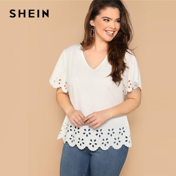 SHEIN Blanc Plus La Taille Scallop Edge Découpé Au Laser Col V Plaine Top Blouse 2019 Femmes Casual Printemps Printemps Papillon Manches Top Blouse