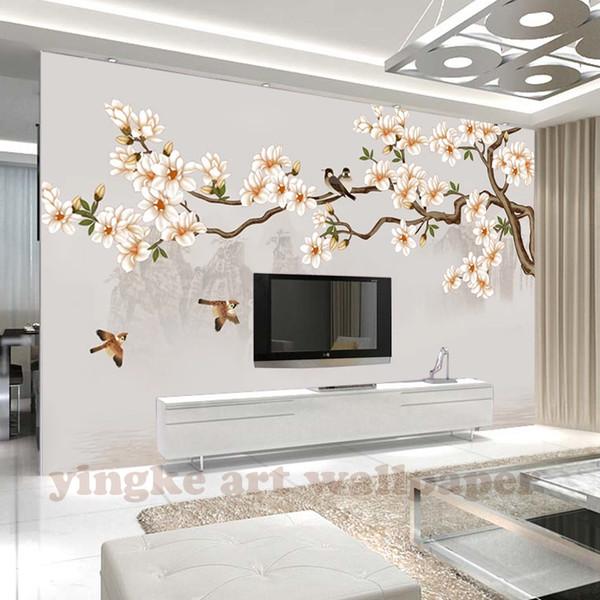 Özel Fotoğraf Kağıdı Modern mangnolia Duvar Boyama kuş Oturma Odası Yatak Odası Zemin Duvar Dekor Duvar Duvarları Duvarlar Için 3 D