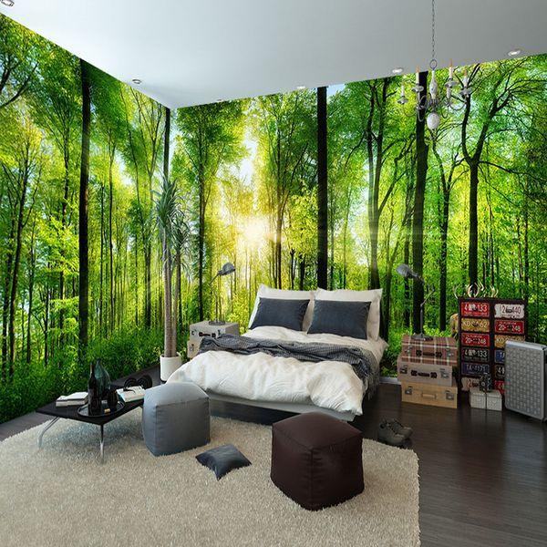 Großhandel Benutzerdefinierte Wandbild Naturlandschaft Tapete Wald 3D  Landschaft Hintergrund Wandbild Wohnzimmer Schlafzimmer Wand Papier  Dekoration ...