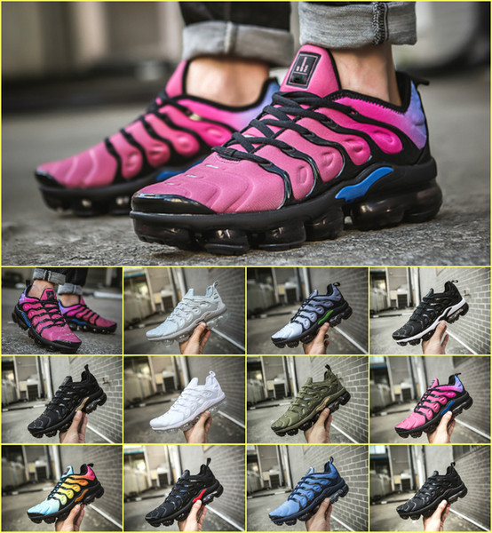2019 TN Plus Мужская обувь Triple Black White Sunset Фото Blue Wolf Grey США Дизайнерская обувь Air Tn Спорт