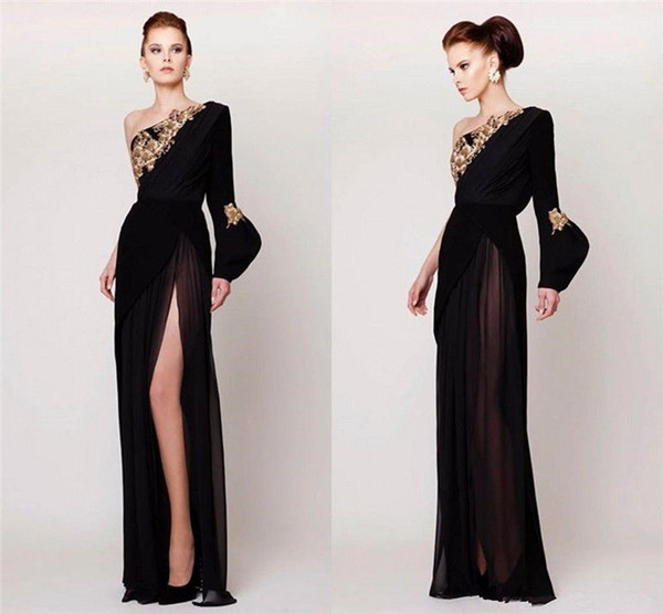 Azzi And Osta Designer Black One Shoulder Prom Dresses Embroidered Sexy High Split Formal Party Evening Gowns Long Sleeves Chiffon Backless