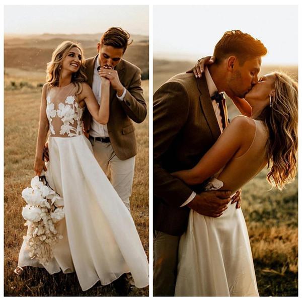 Atractivo una línea ver a través vestido de novia de longitud de apliques sin respaldo asequible vestidos de novia barato vestidos de boda del traje de mariée
