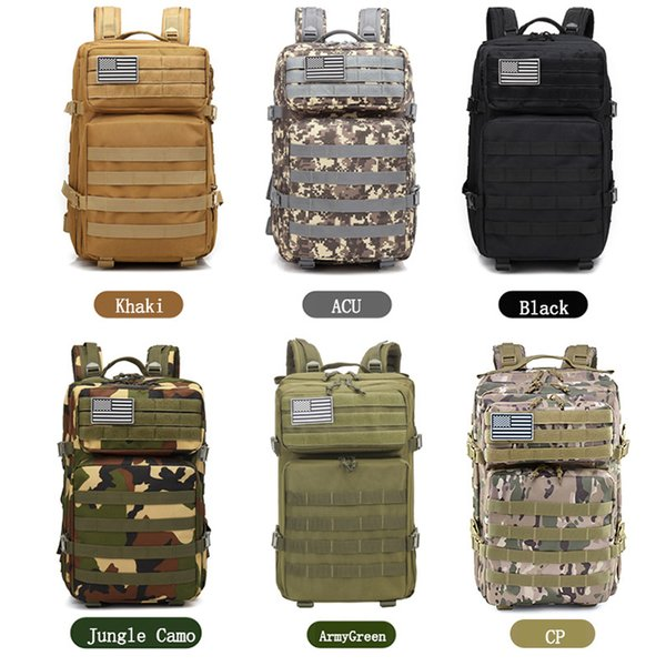 2019 sale 45L Outdoor Camouflage Backpack Assault Tactical Infantry Rucksack Sports Camping Hiking Bag Backpacks Rain Cover Gift